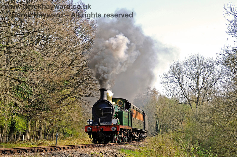 The trees are just coming into leaf as 263 steams into Lindfield Wood. 08.04.2017 14965