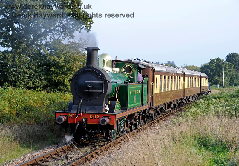 263 bringing up the rear of Pullman, which is actually travelling south near the Sheffield Park Advance Starter, headed by 323 Bluebell. 04.10.2015 12059