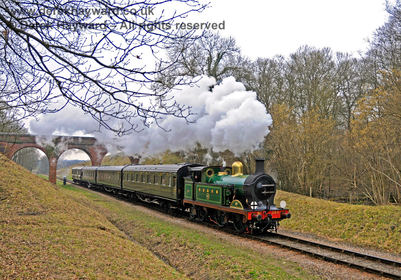 263 steams north from Three Arch Bridge. 14.03.2015 12056