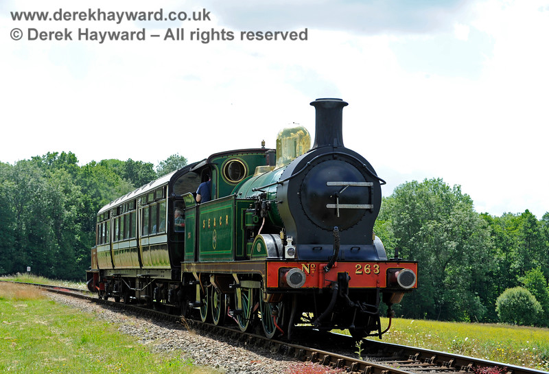 263 moving south from New Road Bridge, with Captain Baxter at the front of the Observation Car. 27.06.2015 11477