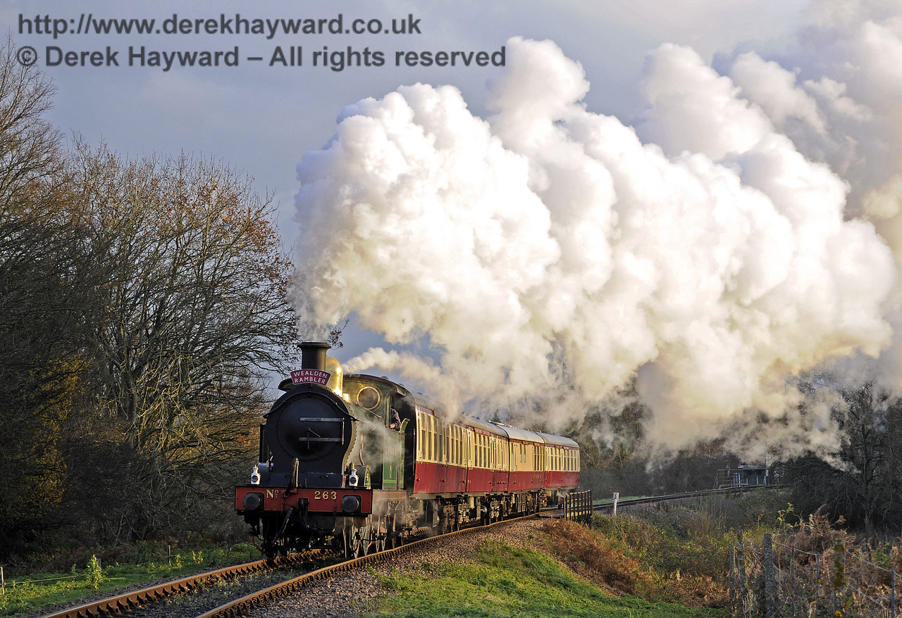263 steams north from Poleay Bridge with a Christmas Afternoon Tea train (Wealden Rambler).  03.12.2014  10109
