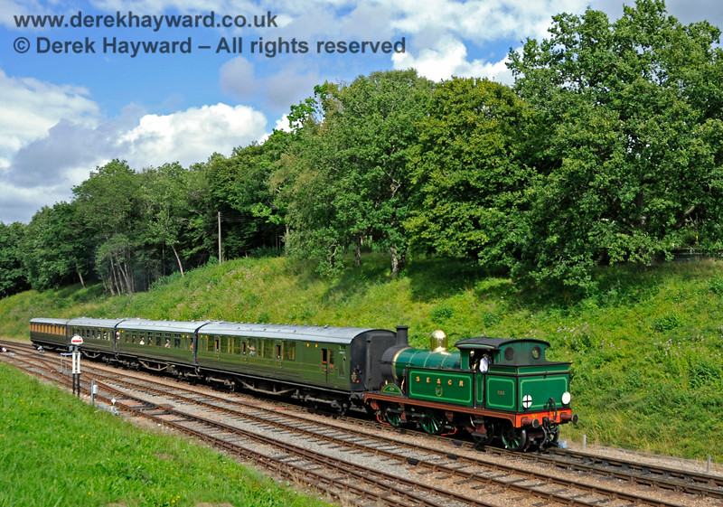 263 hauls a service train south towards Horsted Keynes. 06.08.2017 17610