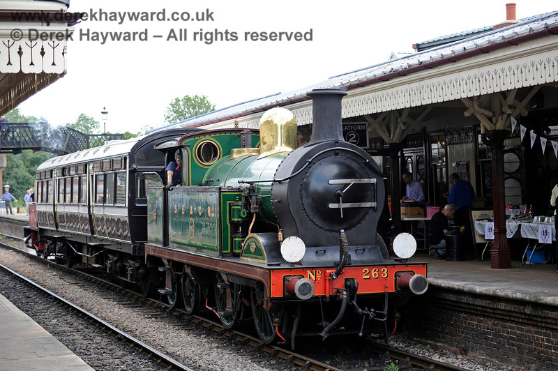 263 waits to leave Sheffield Park with the Observation Car, with Captain Baxter attached at the rear. 27.06.2015 11512