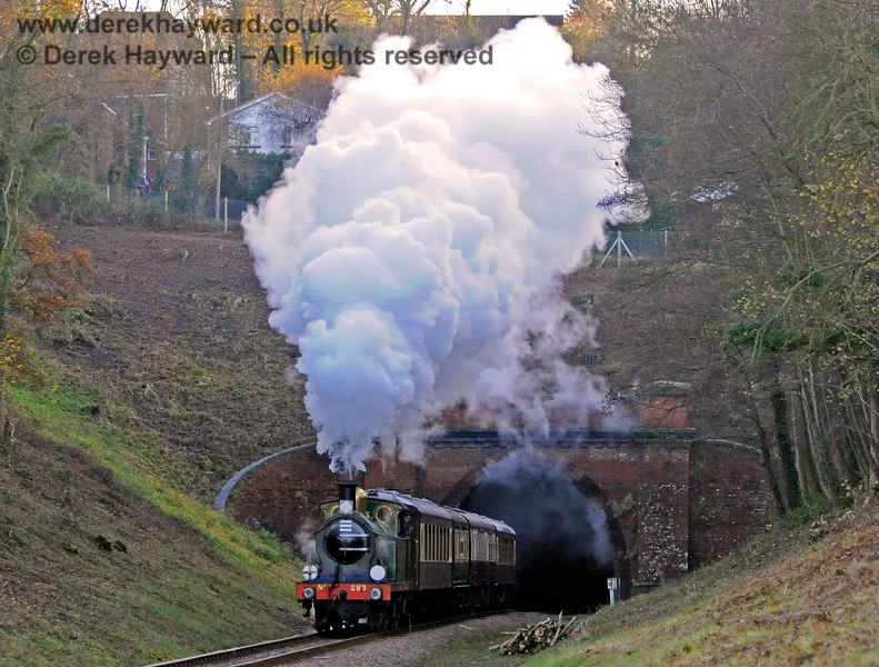 263 gives a steam display as it emerges from West Hoathly Tunnel. 18.11.2012 8365