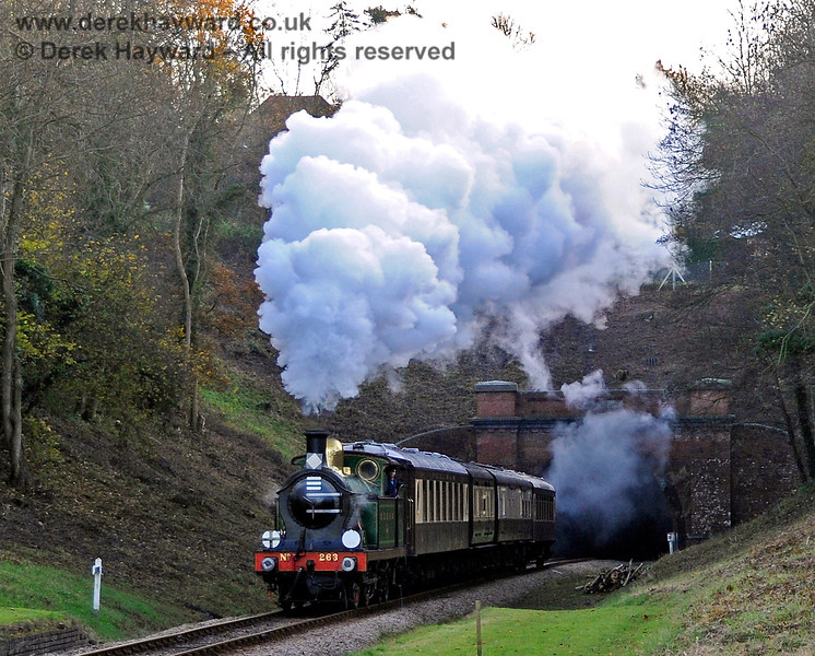 263 emerges from West Hoathly Tunnel. 18.11.2012 5854