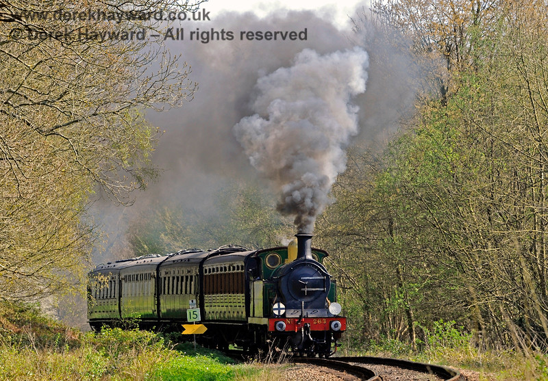 The trees are just coming into leaf as 263 steams towards Lindfield Wood. 08.04.2017 14957