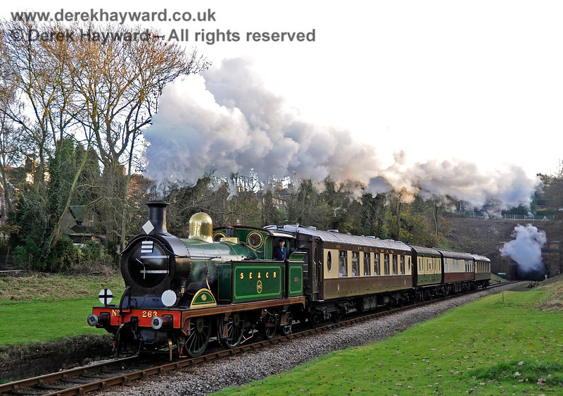 263 passes the site of West Hoathly Station with the Golden Arrow. 18.11.2012 5864