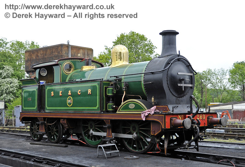 263 on shed at Sheffield Park.  01.06.2013  7165