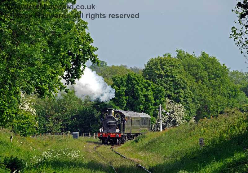 263 steams north from the Sheffield Park Advance Starter.  At the time the line had yet to receive it's visit from the weedkilling train. 18.05.2018 16489
