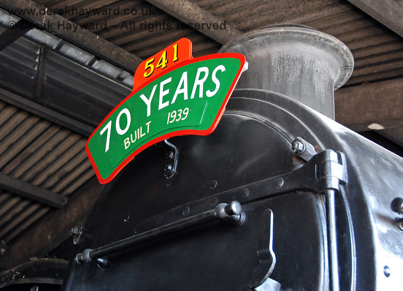 In 2009 541 carried a special self-explanatory headboard whilst it was stored in Sheffield Park shed. 23.04.2009