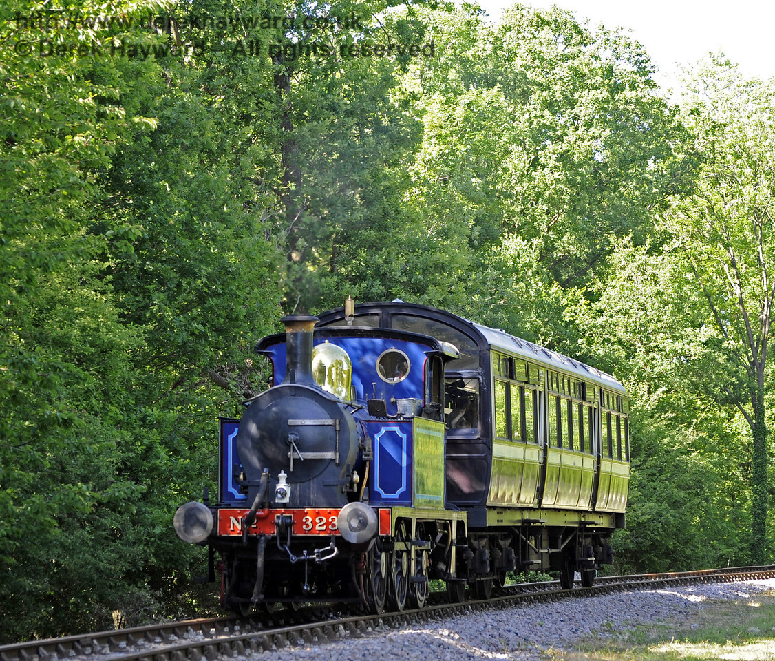 323 Bluebell operating a shuttle service on the East Grinstead extension, before the line was completed.  21.05.2011  1648