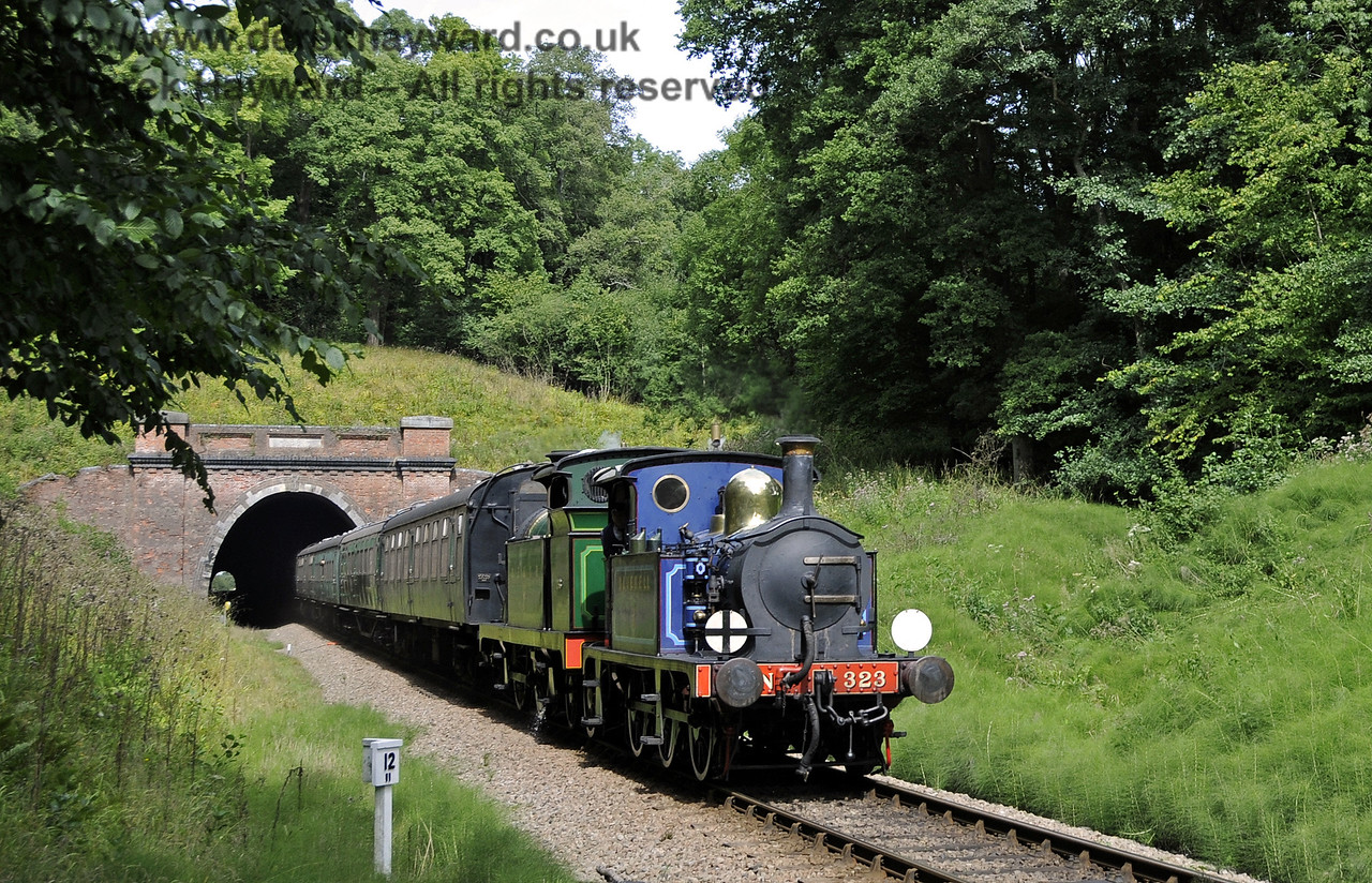 323 Bluebell and 263 emerge from the southern portal of West Hoathly Tunnel.  01.09.2013  9710