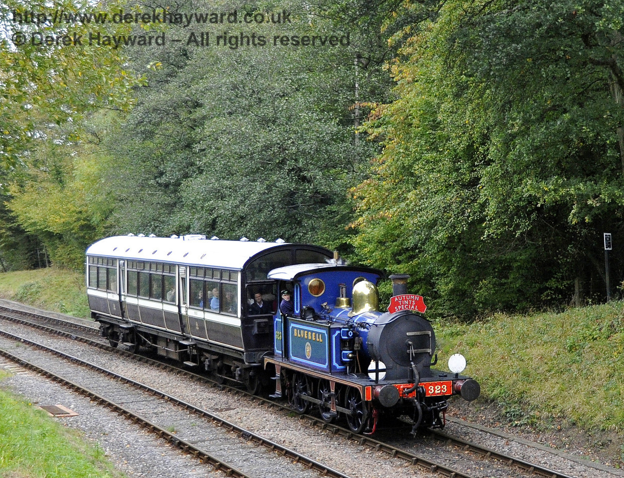 323 Bluebell approaches Leamland Bridge with an Autumn Tints train.  21.10.2011  2992