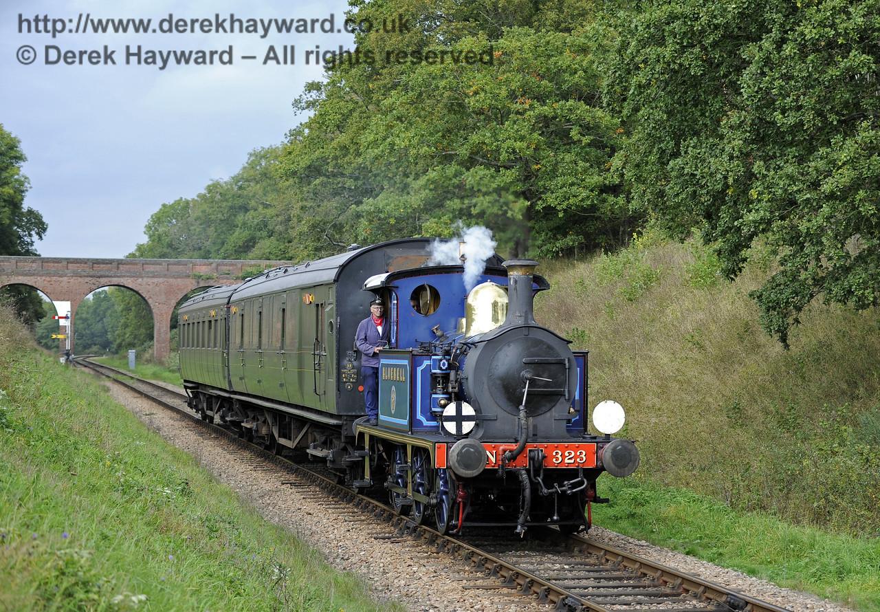 323 hauls an Autumn Tints train south from Three Arch Bridge.  02.10.2014  10063