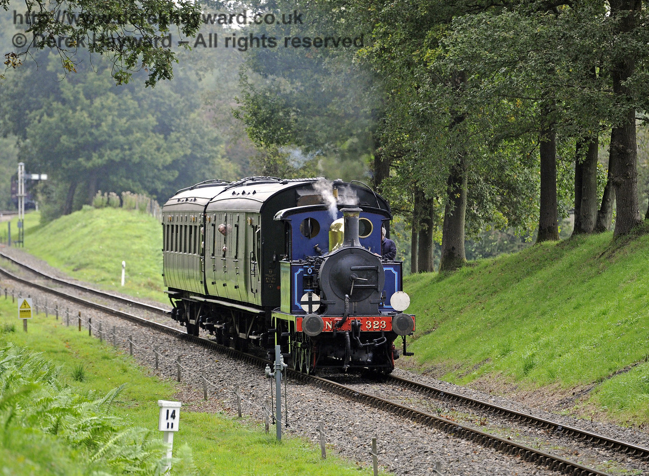 323 hauls an Autumn Tints train through Mill Place cutting.  02.10.2014  10018
