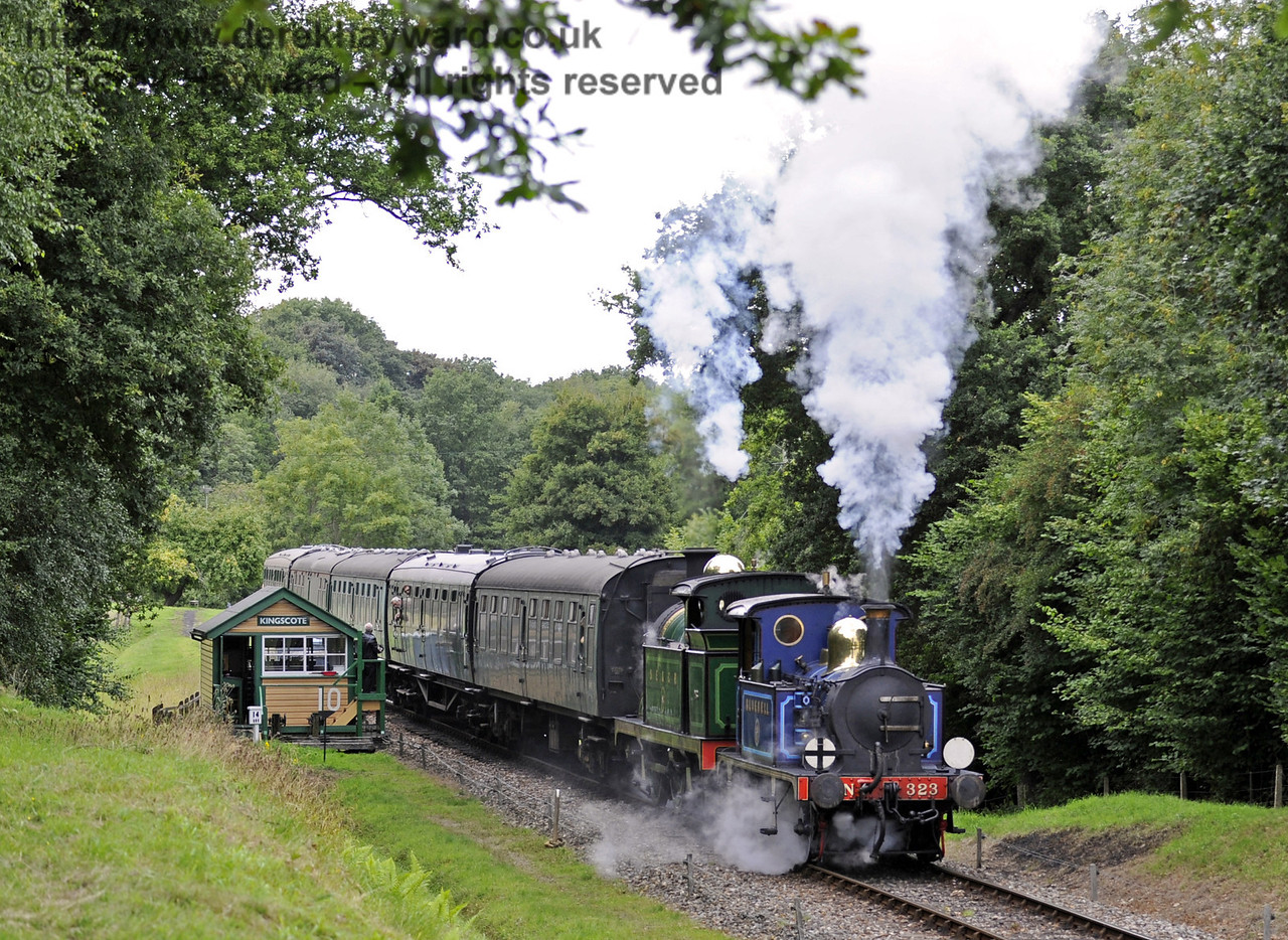 323 Bluebell and 263 steam south from Kingscote signal box.  01.09.2013  8052