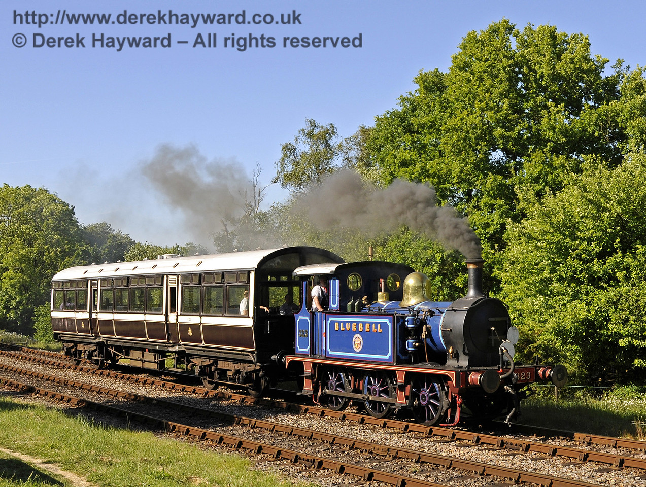 323 Bluebell leaves Kingscote with the Observation Car.  21.05.2011  7213