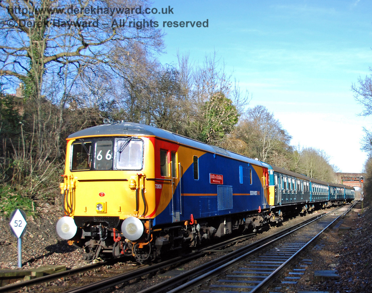 73109, a South West trains Electro-diesel named in commemoration of the 50th anniversary of the Battle of Britain, hauls 4-VEP 3417 Gordon Pettitt into Platform 1 at East Grinstead Station. 17.01.2009  16