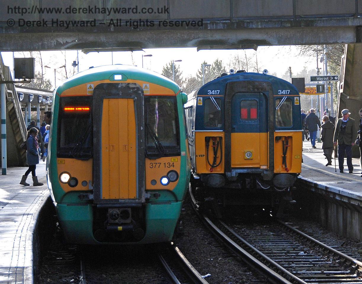 3417 Gordon Pettitt and 377134 at East Grinstead station. 17.01.2009   19