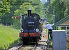 The crew of 592 surrender the single line token at Kingscote signal box.  08.06.2014  9526