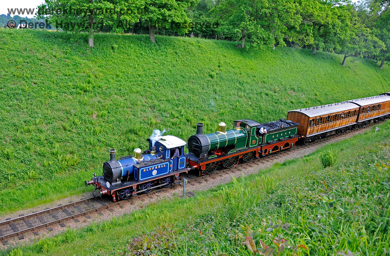 323 Bluebell and 65 in the cutting leading to Three Arch Bridge.  20.05.2018 18454