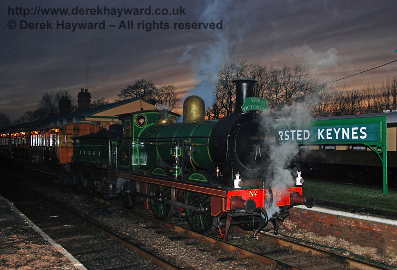 65 stands at Horsted Keynes with an evening Victorian Christmas train. 22.12.2007  0103