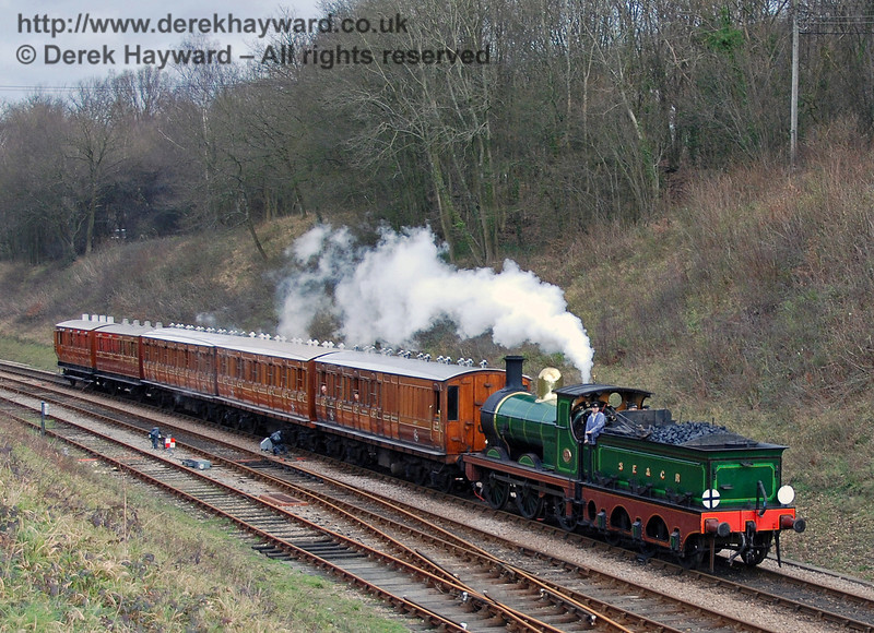 65 steams south into Horsted Keynes with the Victorian coaches.  28.01.2007