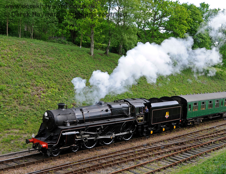 73082 steams north from Horsted Keynes. 14.05.2016 15231