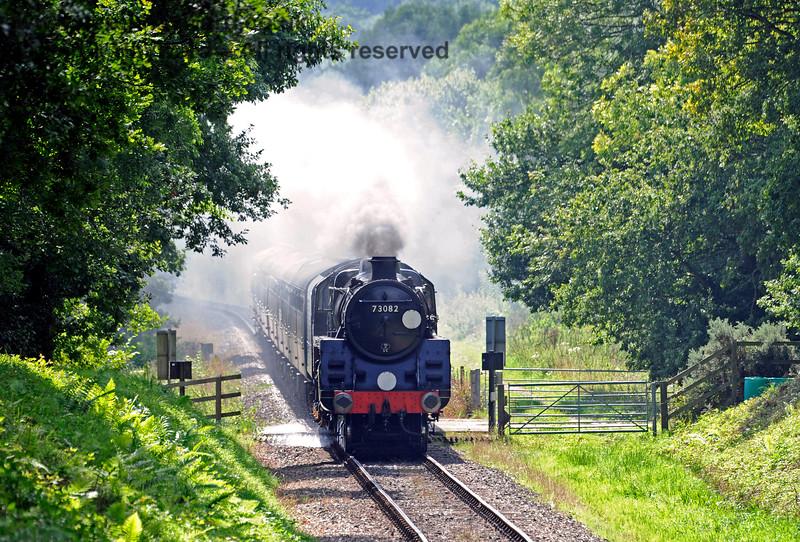 73082 Camelot steams across Dean's Crossing. 27.08.2017 16015