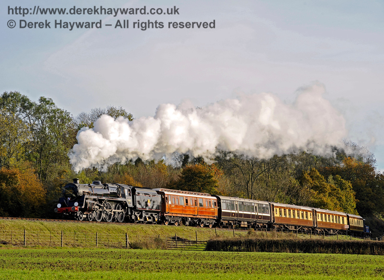 73082 Camelot operated it's first scheduled passenger service today, hauling the Golden Arrow, which also included coaches that were part of a private charter.  The train is seen north of Three Arch Bridge.  25.10.2015  12338