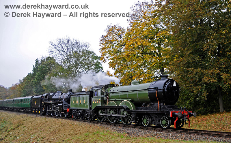 8572 (visiting) and 73082 Camelot double head a train at Mill Place Farm. 30.10.2016 16603