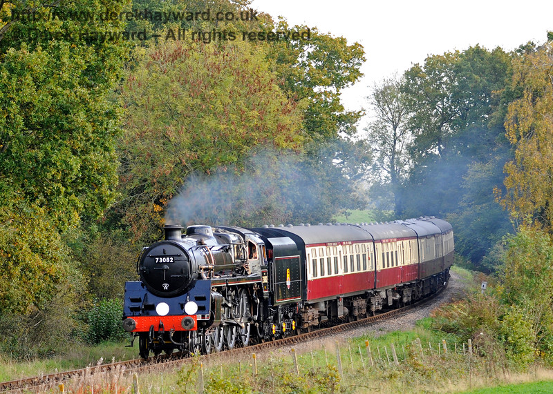 73082 Camelot steams north from Sloop Bridge with a test train, prior to entering passenger service.  20.10.2015  12275