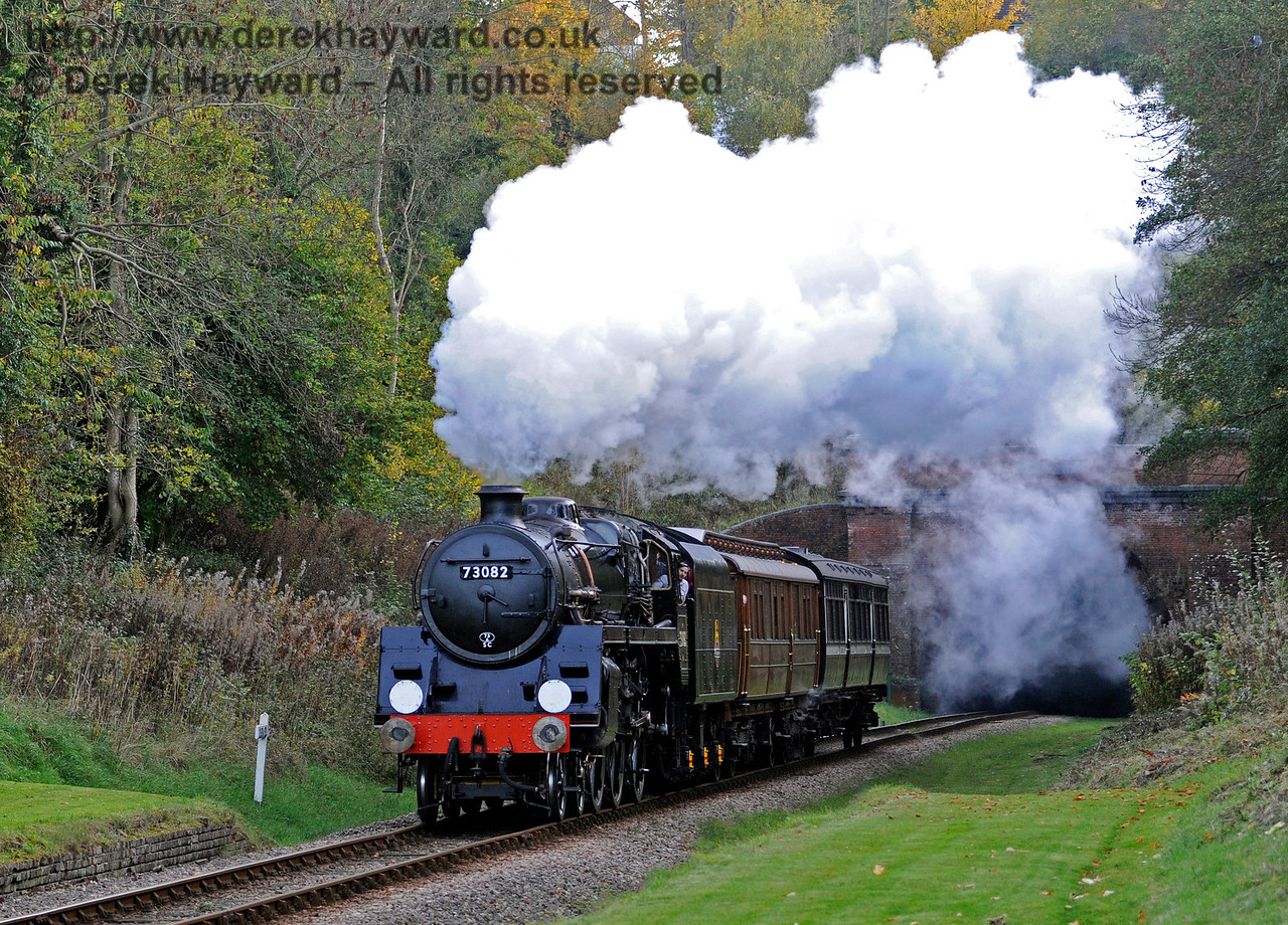 73082 Camelot emerges from West Hoathly Tunnel with a Special Charter train.  25.10.2015  12349