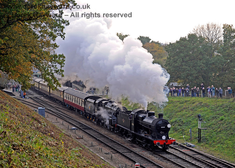 Photographers line the field as 30541 and 73082 Camelot steam north from Horsted Keynes. 30.10.2016  14573