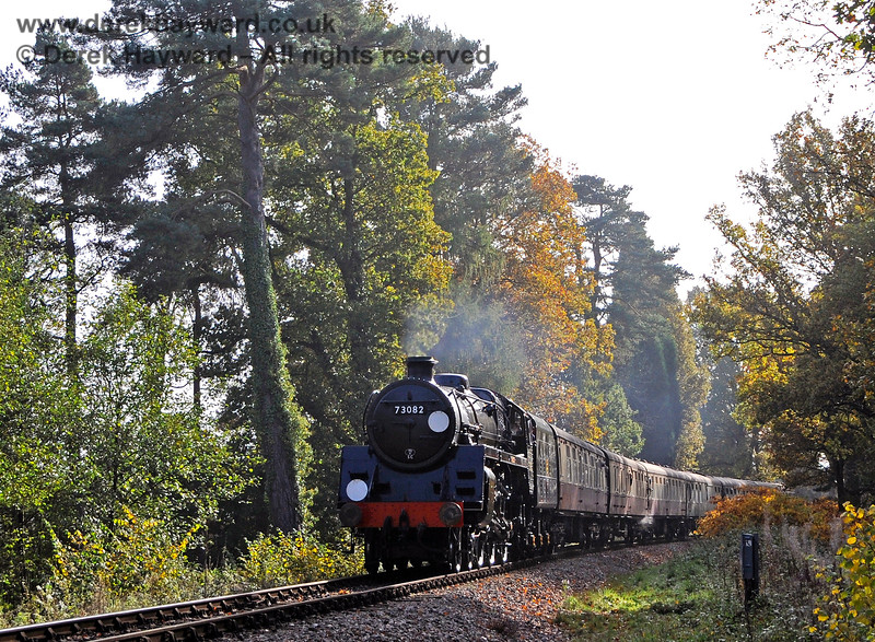 73082 Camelot approaches Birch Farm foot crossing. 31.10.2015 13955