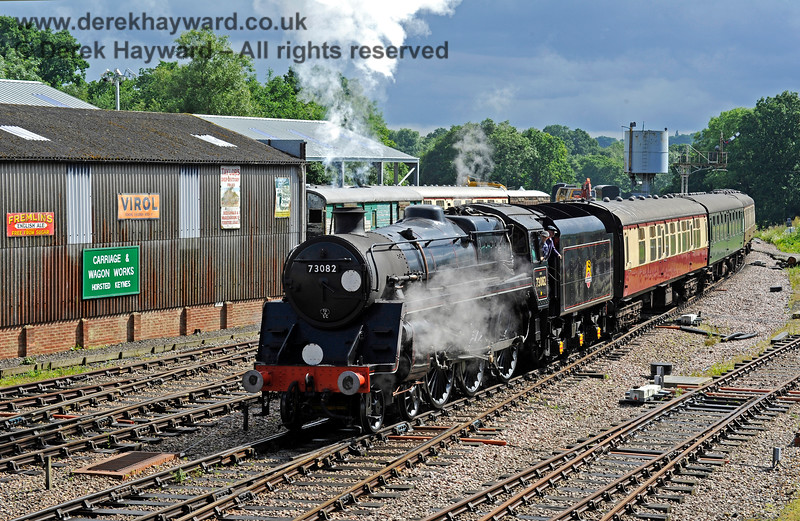 A signalman's view of 73082 Camelot as it passes the Horsted Keynes Carriage & Wagon Works.  25.05.2016 13454