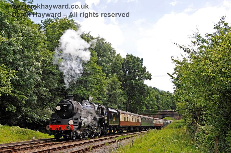 73082 Camelot steams north from Leamland Bridge. 03.07.2016 15726