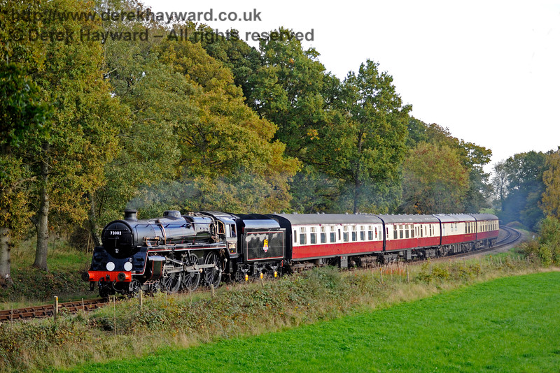 73082 Camelot steams north from Sloop Bridge with a test train, prior to entering passenger service.  20.10.2015  12280