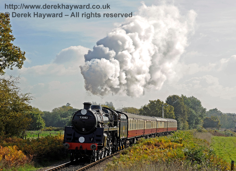 73082 Camelot steams north towards Ketches Halt with a test train, prior to entering passenger service.  20.10.2015  12237