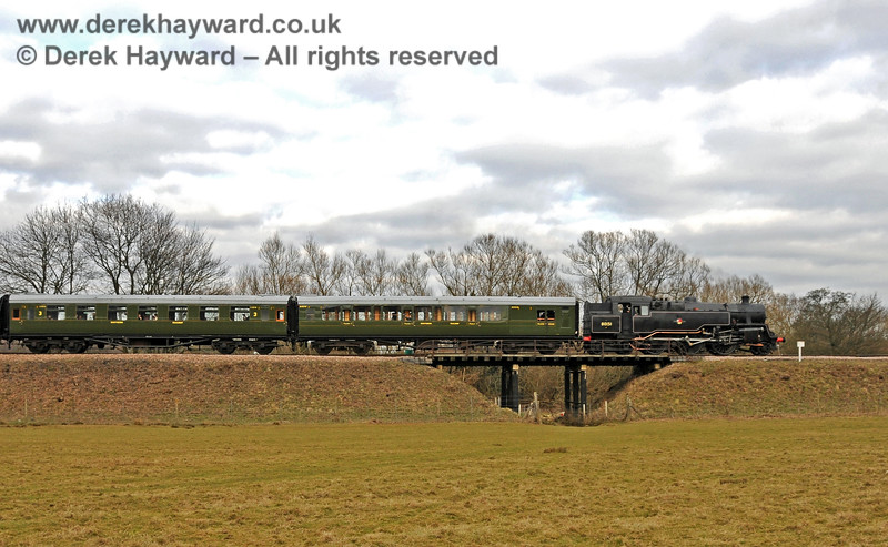 80151 steams south over Poleay Bridge. 13.03.2010 1337