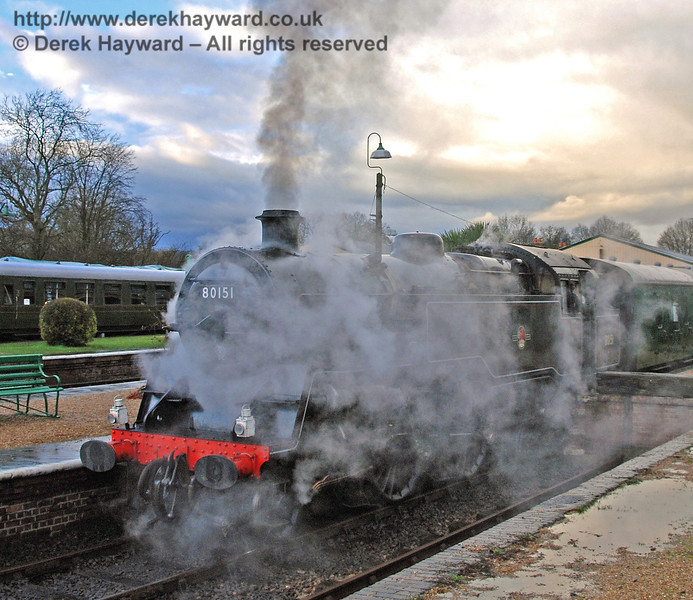Unusually high humidity following a heavy shower caused this unusual steam effect around 80151 at Horsted Keynes. 25.02.2007