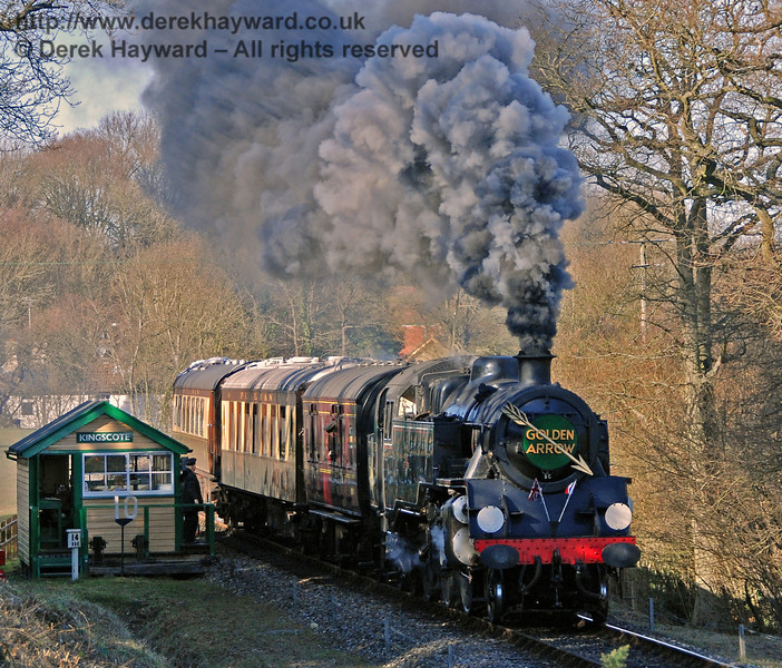 80151 creates steam effects whilst leaving Kingscote. 17.02.2008