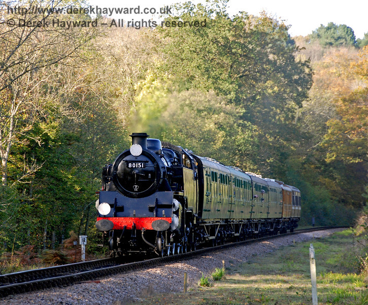 80151 steams towards Black Hut with a service train. 25.10.2009.