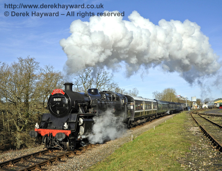 80151 leaves Horsted Keynes with a Santa Special.  10.12.2011 3191