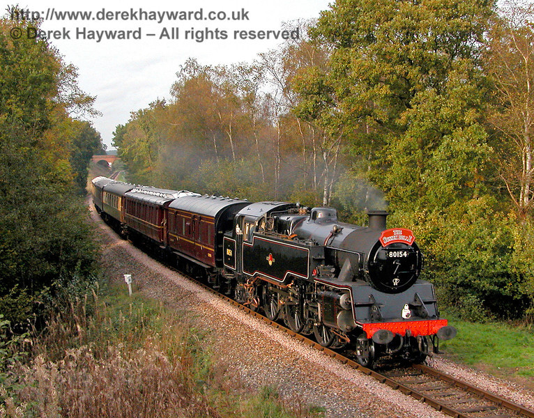 80151 (as 80154) steams south from Three Arch Bridge with the Sussex Belle. 27.10.2006
