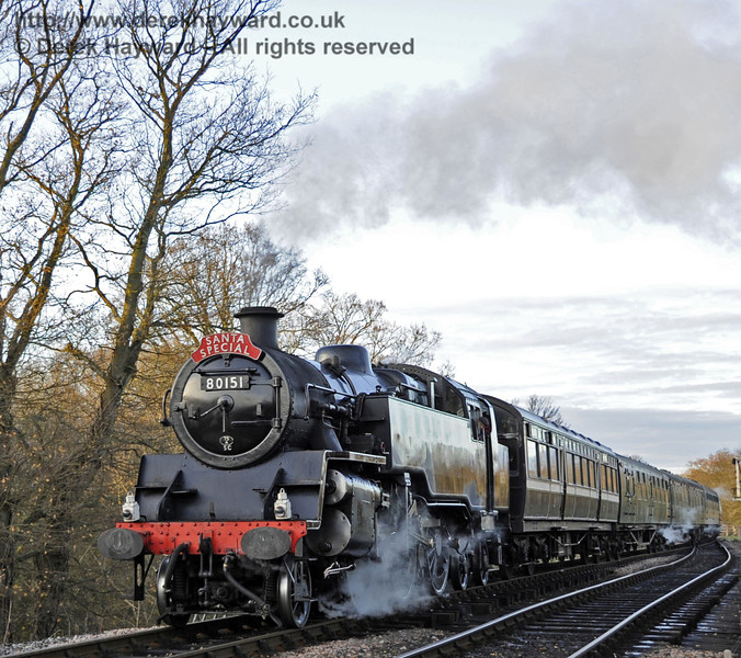 80151 crosses the River Ouse Bridge with a Santa Special.  10.12.2011  3335