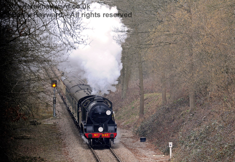 847 approaches Imberhorne Lane Bridge. 14.03.2015 10458