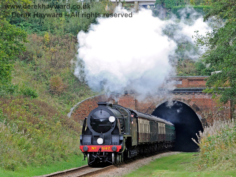 847 emerges from West Hoathly Tunnel. 10.10.2015 12179