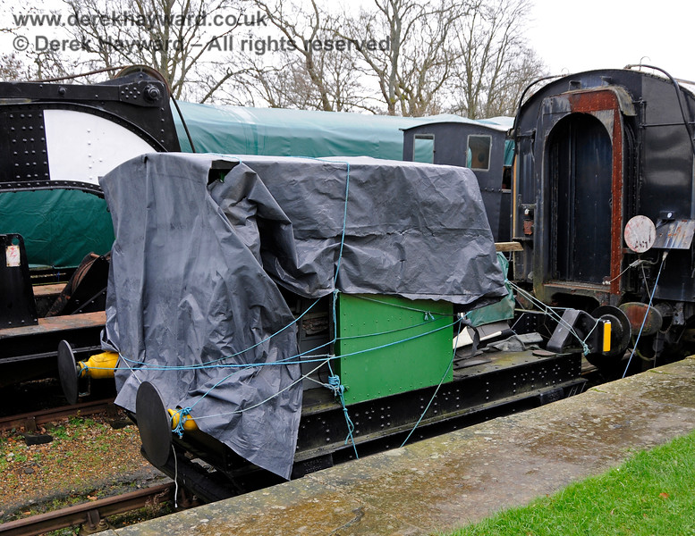 Howard Petrol Locomotive 957 Britannia protected from the weather in Platform 1 at Horsted Keynes.  12.12.2015 14080