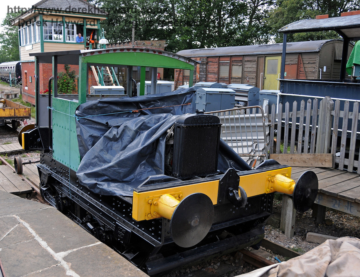 Howard Petrol Locomotive 957 Britannia being made ready for service at Horsted Keynes 24.07.2010  3280